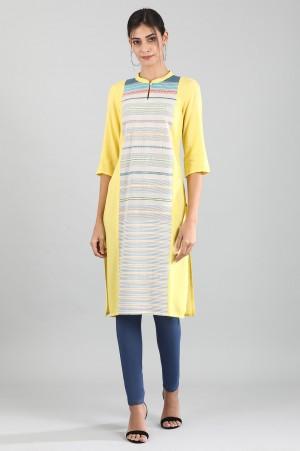 Yellow Band Collar Yarn-dyed Kurta