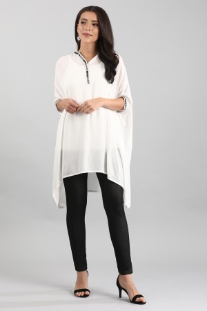 White Band Collar Solid Top