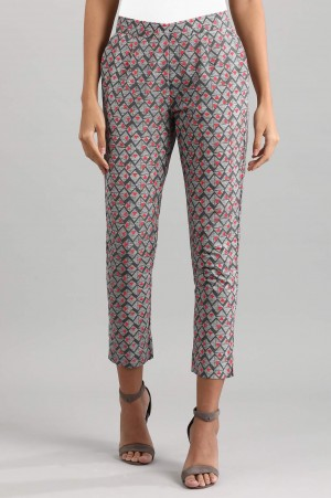 Grey Printed Trousers