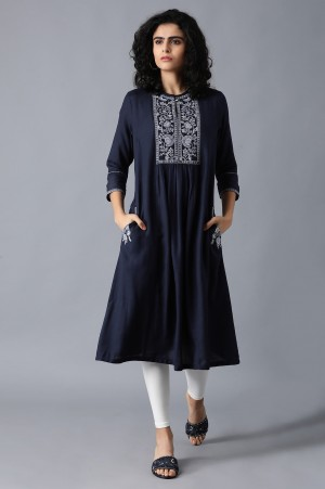 Blue Gathered Embroidered Dress