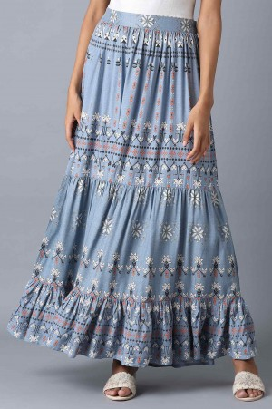 Chambray Blue Tiered Skirt
