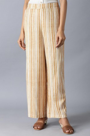 Brown and Ecru Stripes Parallel Pants