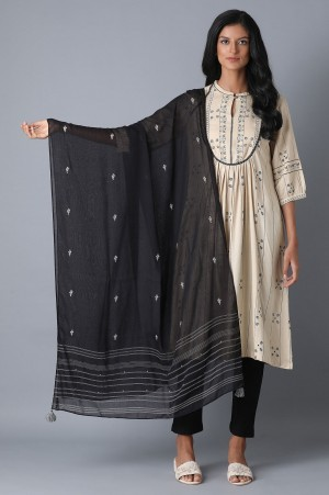 Black and White Embroidered Dupatta