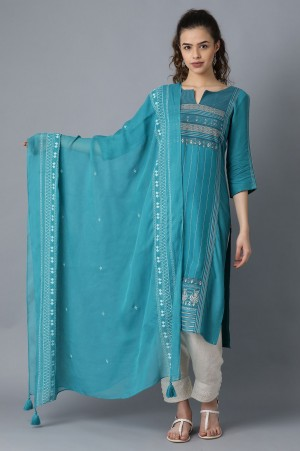 Teal Embroidered Dupatta