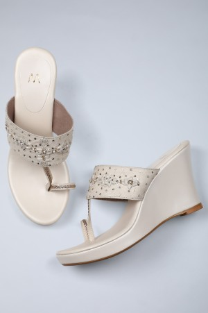 Ecru Embroidered Ring-toed Wedges-WCarsson