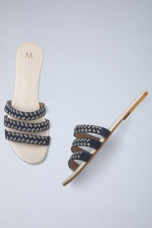Chambray Blue Embroidered Flats-WWander
