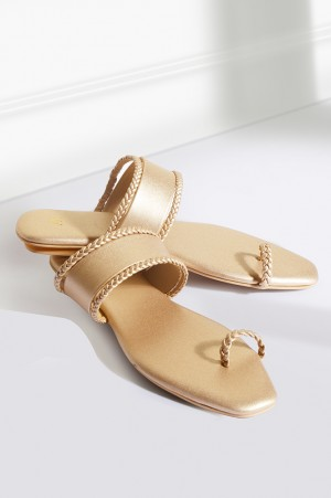 Gold Ring-toed Braided Flats-WAda
