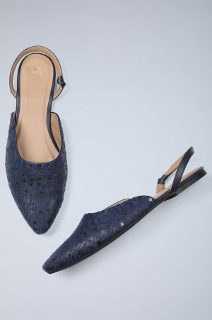 Blue Embroidered Flat Bellies-WPixie