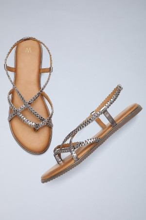 Pewter Round Toe Braided Sandals-WTangle