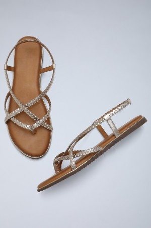 Light Gold Round Toe Braided Sandals-WTangle