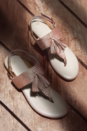 Rose Gold Almond Toe Woven Sandals-WFringy