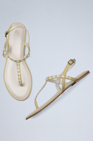 Yellow Almond Toe Embellished Sandals-WDaisie