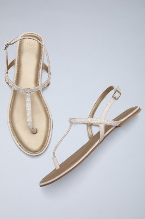 Off-White Almond Toe Embellished Sandals-WDaisie