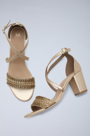 Gold & Beige Embroidered Block Heels-WLily