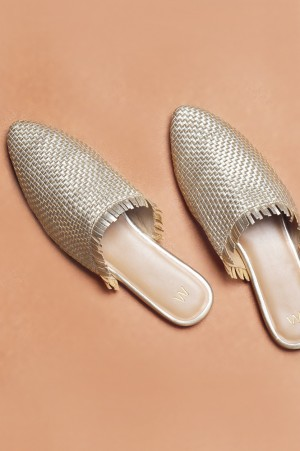 Antique Gold Woven Mules-WAlina
