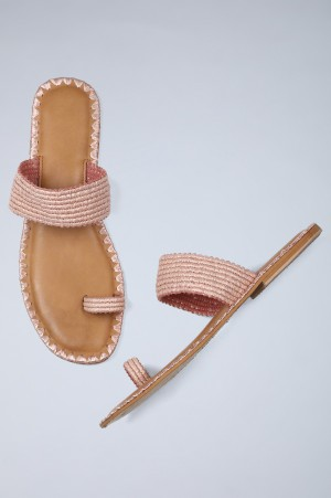 Pink Ring-toed Woven Flats-WRandel