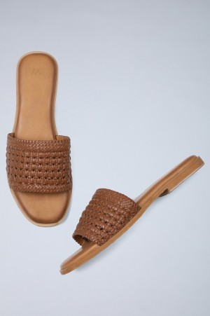 Tan Square Toe Woven Flats-WRamsie