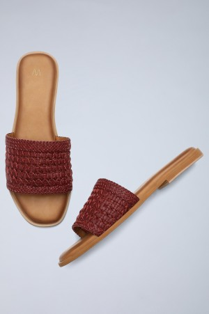 Maroon Square Toe Woven Flats-WRamsie