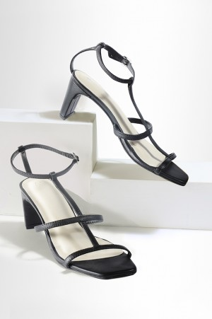 Black Square Toe Solid Western Heels-Wwilly