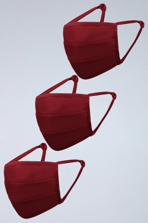 Maroon Reusable Cotton Face Mask - Pack of 3