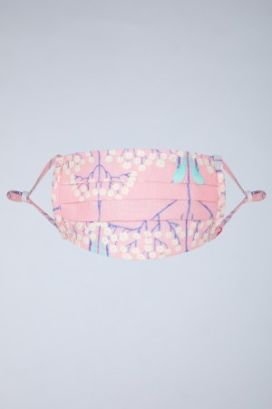 Pink & Ecru Pleated Reusable Mask - Pack of 2 with Mask Bag