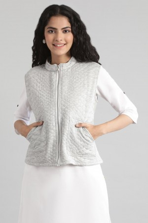 Grey Collar Neck Quilted Jacket
