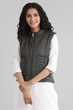 Black Collar Neck Quilted Jacket
