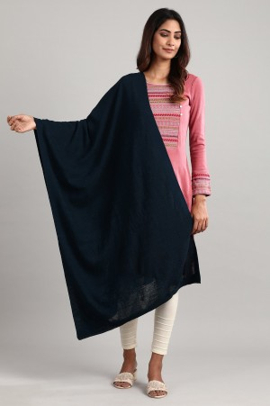Navy Knitted Shawl