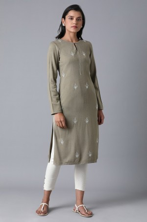 Olive Green Floral Embroidery Winter Kurta