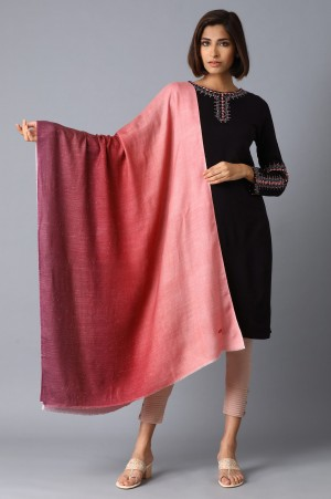 Red To Pink Ombre Digitally Printed Shawl
