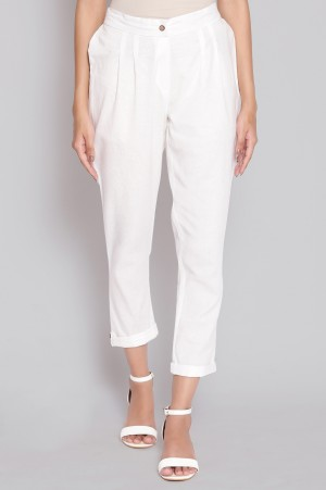 White Solid Trousers
