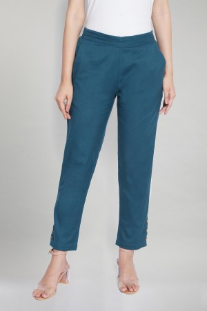 Deep Teal Green Solid Trousers