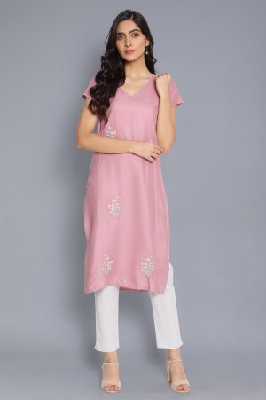 Pink Straight Kurta with Embroidery