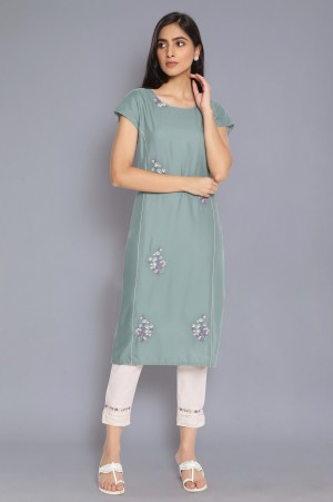 Spruce Green Kurta with Embroidery