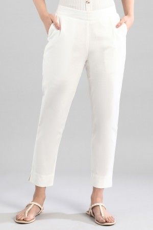 White Ankle Lenth Trousers