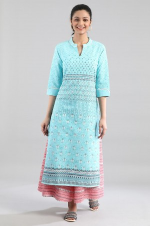 Blue Printed Kurta in Band with V Collar