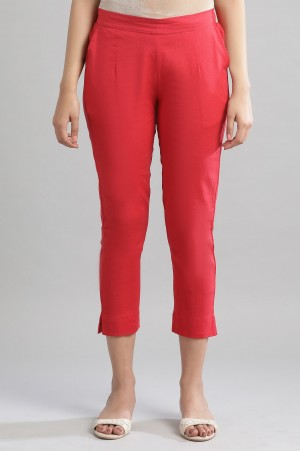 Red Solid Trousers