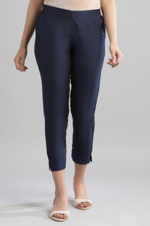 Navy Solid Trousers