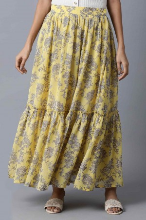 Yellow Georgette Tiered Skirt
