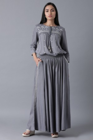 Blue Top and Parallel Pants set