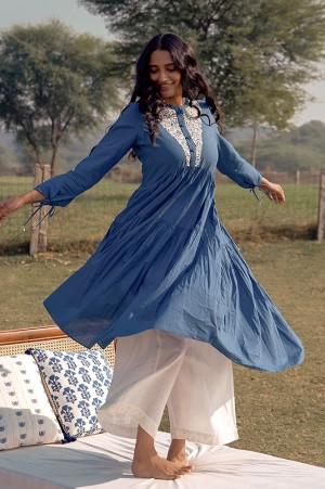 Blue Embroidered Yoke Tiered Dress