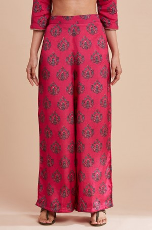 Bright Pink Multicoloured Parallel Pants