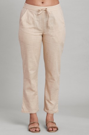 Beige Solid Straight Pants