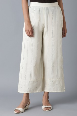 Ecru Parallel Pants with Embroidered Hem
