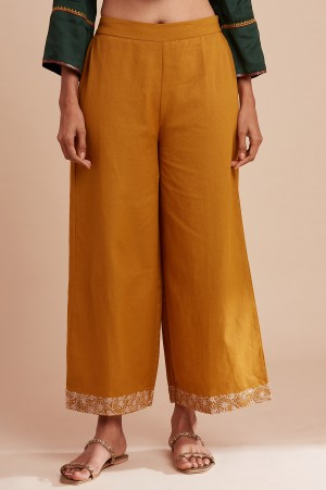 Mustard Yellow Solid Parallel Pants